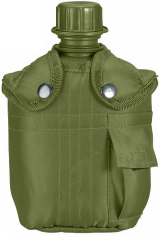 Olive Drab 1 QT Plastic Canteen & Cover with Belt Clip - Military Camping Hiking