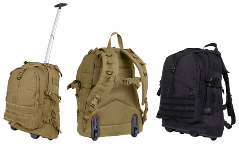"Rolling Large Transport Pack - Rothco 19"" Versatile MOLLE Backpack Bag On Wheels"