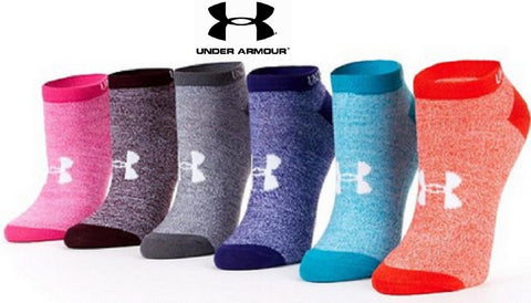 Under Armour Womens No-Show Sock 6 PACK - UA Girls Dark Marble Socks 6-PACK