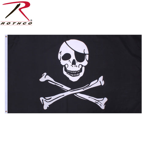 "Rothco ""Jolly Roger"" Pirate Flag - Black & White Skull w/ Eye Patch & Crossbones"