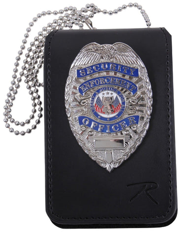 "Black Leather Law Enforcement Security ID & Badge Holder w/ 33"" Neck Chain 1136"