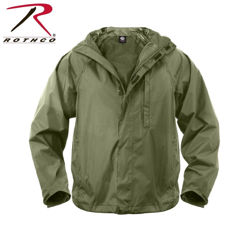 Packable Waterproof Rain Jacket - Rothco Olive Drab Rip-Stop Rain Coat With Bag
