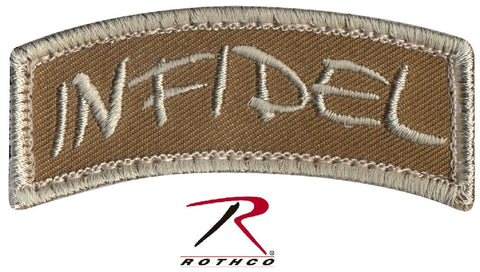 Desert Tan INFIDEL Tactical Morale Patch - Rothco Velcro-Type Hook Back Patches