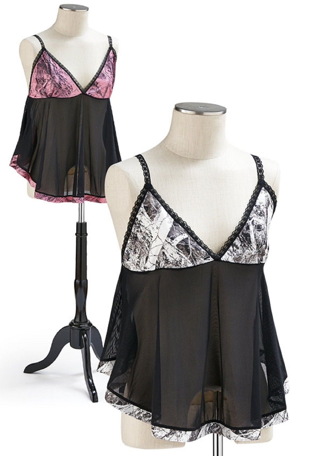a0d9c6548f88 Naked North Pink or Snow Camo Lingerie Mesh Dress & Pantie Baby Doll Set  S-XL.