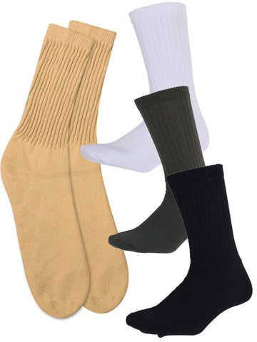 Athletic Crew Socks - White, Khaki, Black or Olive Drab - Cotton Poly U.S. Made