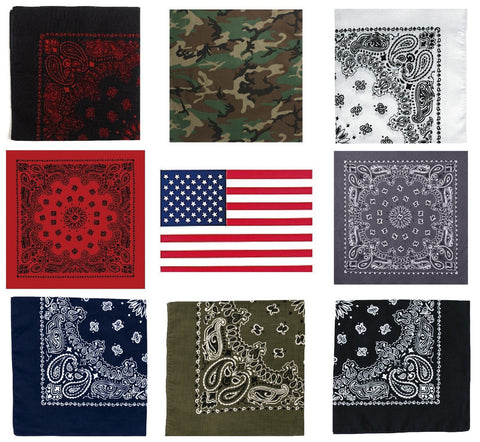"12 Pack (1 Dozen) Cotton Jumbo 27"" Double Sided Paisley, Camo & USA Flag Bandana"