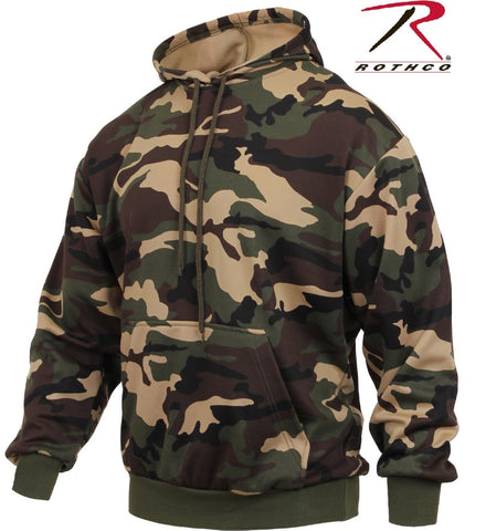 Woodland Camo Performance Pullover Hooded Sweatshirt - Mens Fleece Lined Hoodie