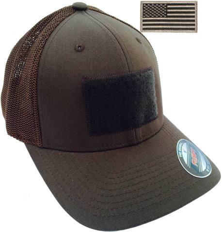 Men's Flexfit Mesh Trucker Tactical Cap - Mid Profile Hat & USA Flag Patch