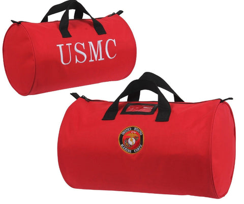"Red 18"" USMC Marines Globe & Anchor Logo Embroidered Duffle Bag Rothco 8969"