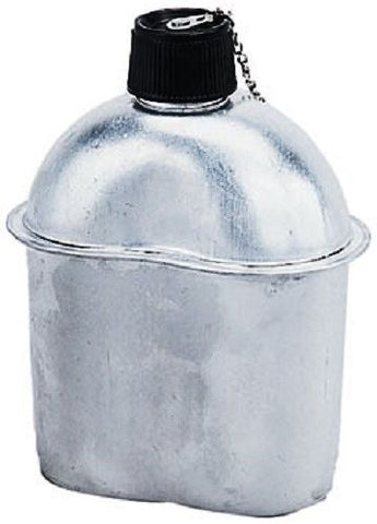 GI Style Heavy Gauge Aluminum 1 QT Canteen - Screw-On Top With Safety Chain