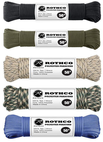 5 Pack 550 LB 7-Strand Paracord - 250' 5 Colors Commercial Parachute Cord