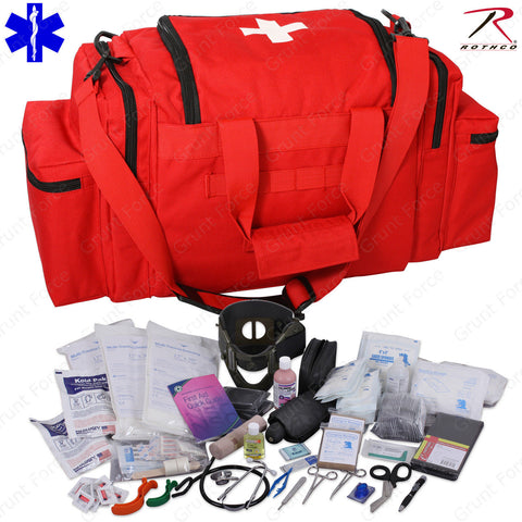 Deluxe Red EMT/EMS Medic Bag With Supplies - Rothco EMT Medical Trauma Kit