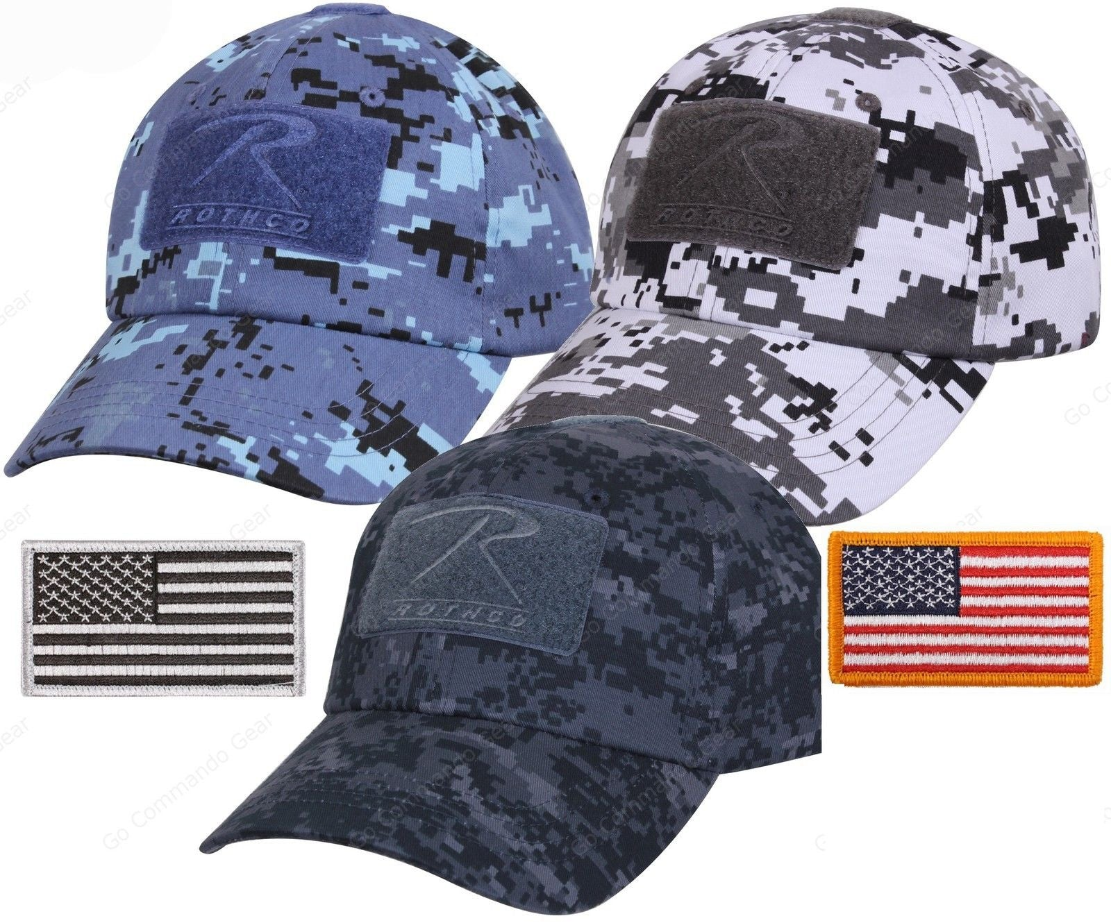 Mens Digital Camouflage Tactical Cap   USA Flag Patch - Rothco Camo  Baseball Hat ... 82d3f0fd40c