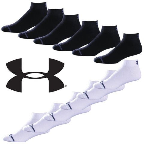 6-PACK Under Armour Mens Charged Cotton Low Cut Ankle Socks SIX PACK Black White