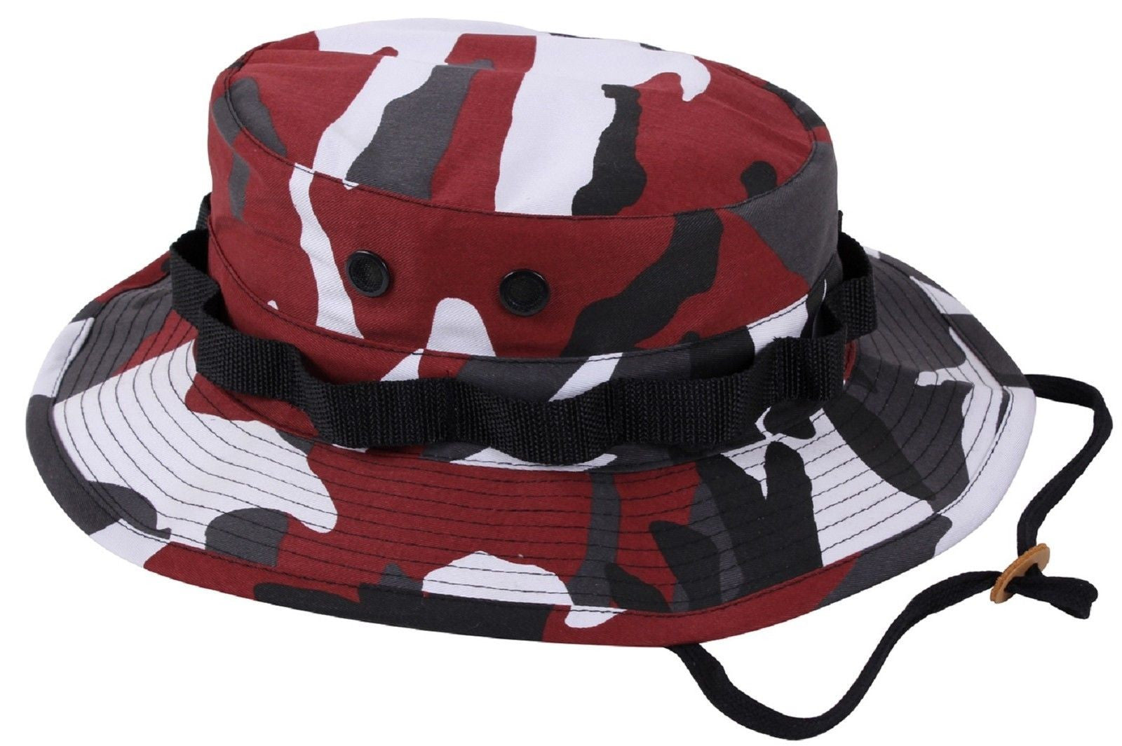 Red   Black Camouflage Boonie Bucket Hat w  Chin Strap S - XL Rothco ... 908086d6794