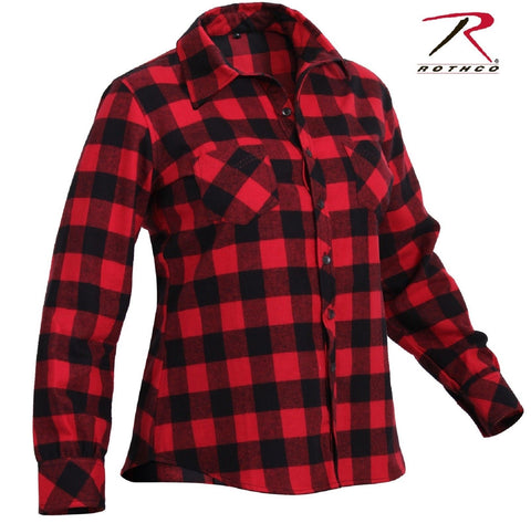 Womens Red and Black Plaid Flannel Shirt - Rothco 100% Cotton Button Up Top
