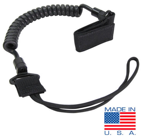 Condor US1004 Black Pistol Retention Lanyard Coil Handgun Securement Rubber Cord
