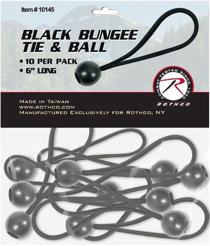 "10 Pack 6"" Black Bungie Tie & Ball for Carports, Tarps and Canopys"