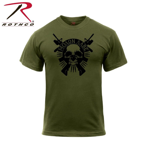 Rothco Molon Labe Skull T-Shirt - Men's OD Graphic Military Style Athletic Tee