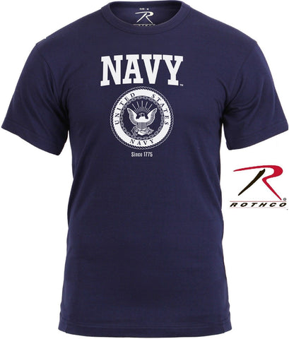 Mens USA Navy Emblem Military Tee Shirt - Rothco Dark Blue US NAVY TShirts