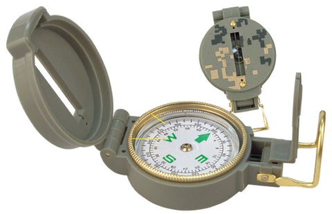 Military Style Lensatic Compass - Liquid Filled W/ Magnifying Glass ACU Digital