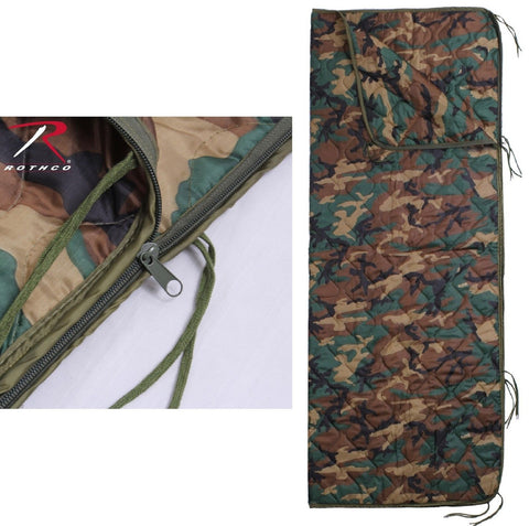 "Military Type Woodland Camouflage 82"" Rip-Stop Poncho Liner w/ Zipper & Ties NWT"