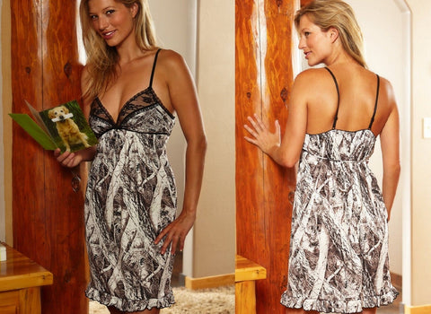 Women's Naked North Snow or Mossy Oak Break-Up Camo Sexy Chemise Lingerie