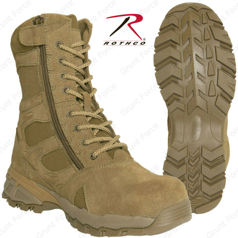 AR 670-1 Coyote 8 Inch Forced Entry Tactical Boot W/ Side Zipper & Composite Toe