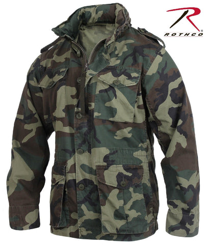 Mens Woodland Camouflage Lightweight M-65 Military Style Field Jacket Coat
