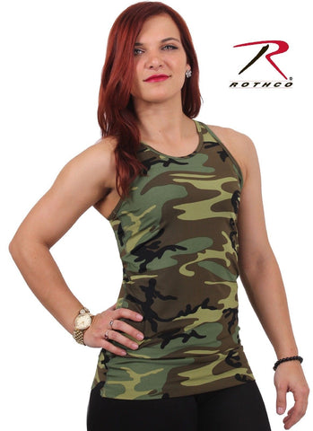 Womens Camouflage Performance Tank Top - Ladies Athletic Training Camo T-Shirt