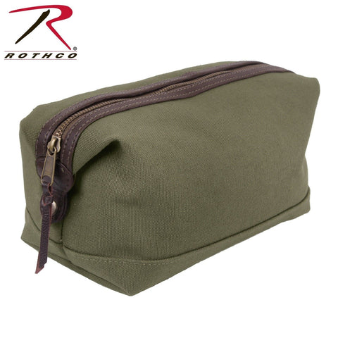 Rothco Canvas Leather Travel Kit - Olive Drab Dopp Type Bag Toiletry Travel Bag