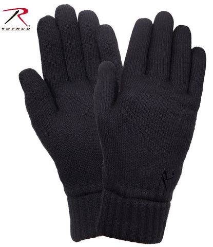 Black Warm Fleece Lined Gloves - Rothco Cold Weather Winter Gloves