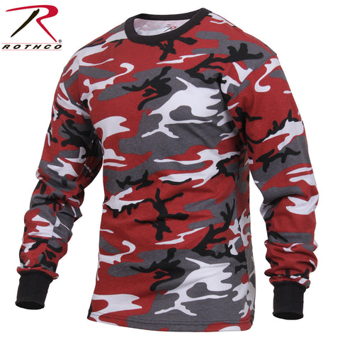 Men's Red Camo Long Sleeve T-Shirt - Rothco Colored Camo Poly/Cotton Tee 3173