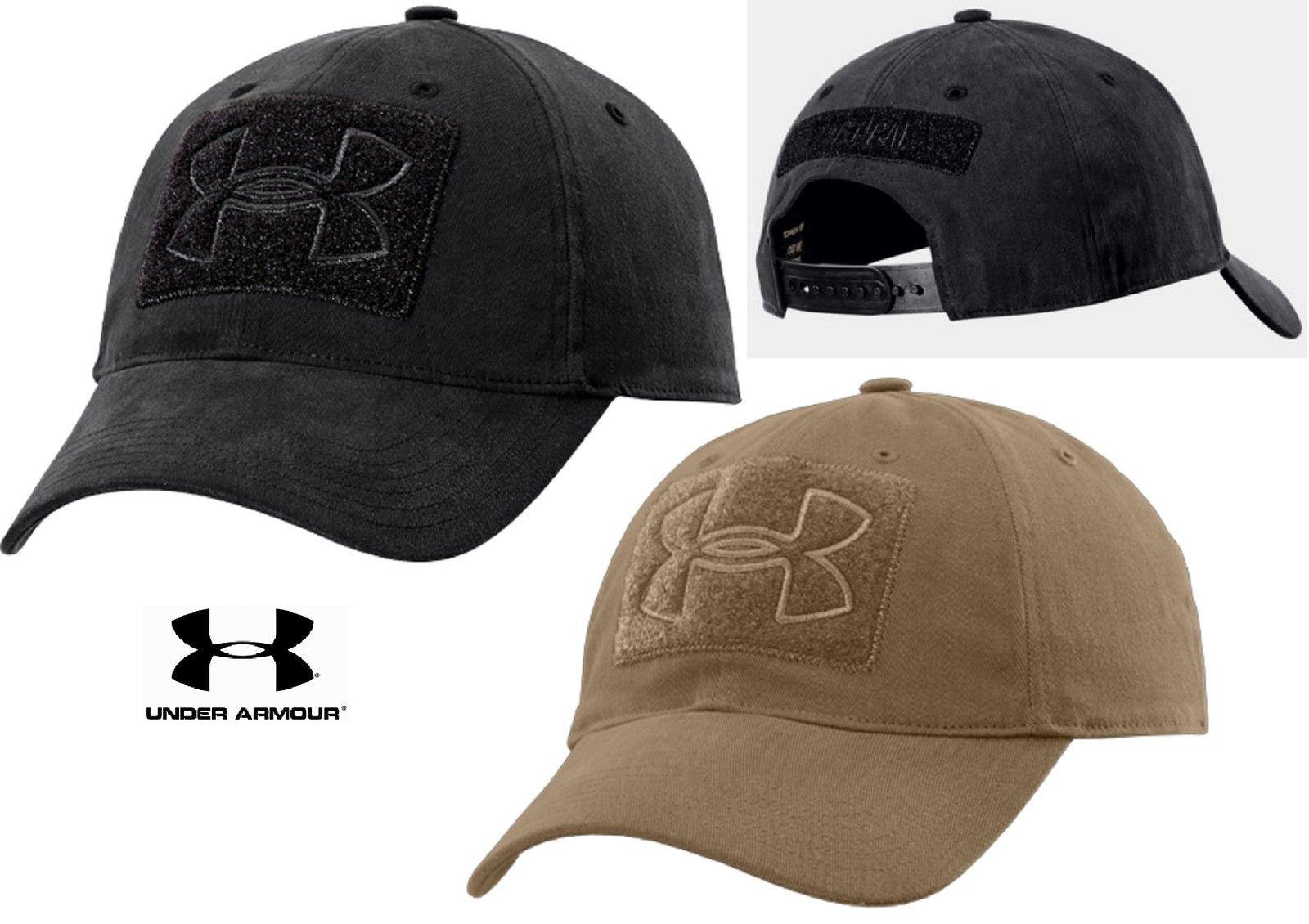 Under Armour Tactical Patch Cap - UA Black or Coyote Brown Adjustable TAC  Hat. a592f557563