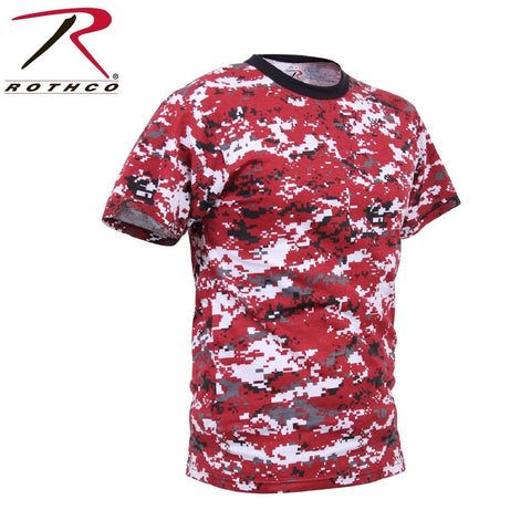 Men's Red Digital Camo Short Sleeve Tee Rothco Digital Camouflage T-Shirt