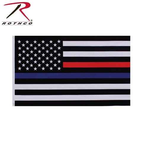 Rothco Thin Blue & Thin Red Line US Flag - 3' x 5' Double Stitched American Flag