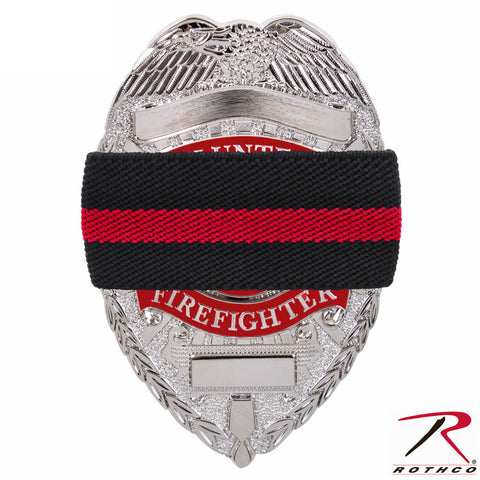 "Thin Red Line Elastic Mourning Band (7/8"" X 4¼"") - Rothco TRL Badge Band"