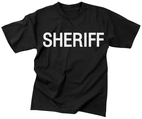 Black SHERIFF Two Sided Official Issue Raid T-Shirt / Law Enforcement Tee S-3XL