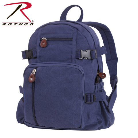 Rothco Vintage Canvas Compact Backpack - Navy Blue Canvas School Bag Book Bag