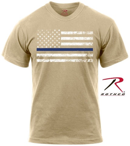 Desert Tan Thin Blue Line Police Support Tee Shirt Rothco Mens USA Flag TShirt