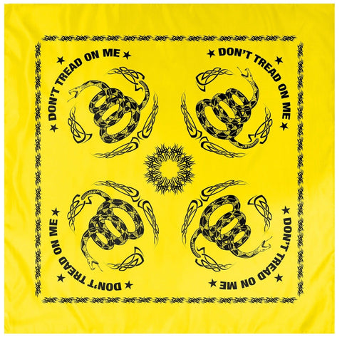 "Yellow and Black Gadsden Flag Snake DON'T TREAD ON ME 22"" Patriotic USA Bandana"