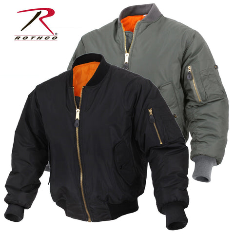 Enhanced Nylon Reversible MA-1 Flight Jacket - Black or Sage Green Bomber
