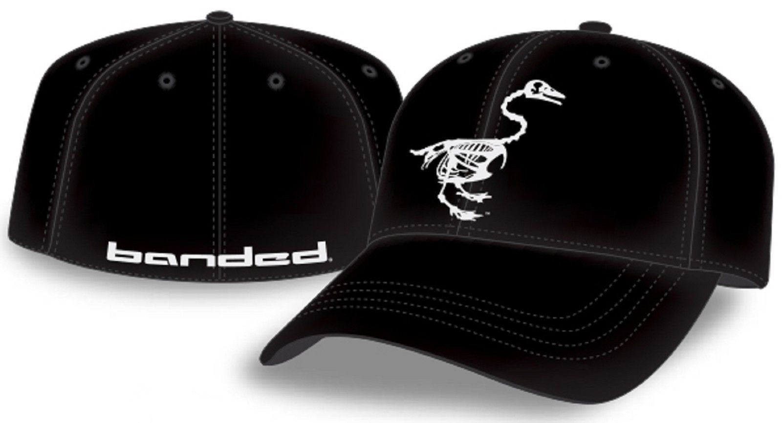 07616d08355 Banded Black Duck Skeleton Logo Stretch-Fit Fitted Hat - Mens Baseball  Style Cap