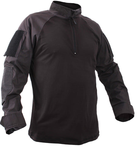 Men's Black Quarter-Zip Tactical Combat Shirt