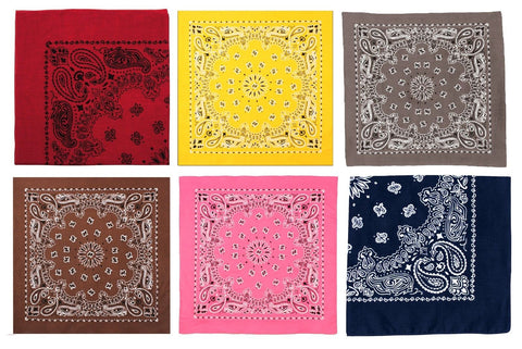 "Bandana Variety 6 Pack Different Color 22"" Bandanas Cotton Paisley"