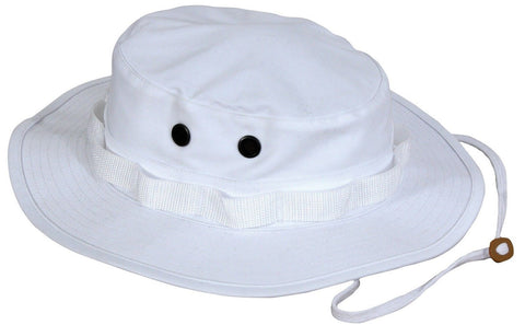 White Boonie Bucket Hat - Men & Women's Adjustable Soft Poly Cotton Bush Hat