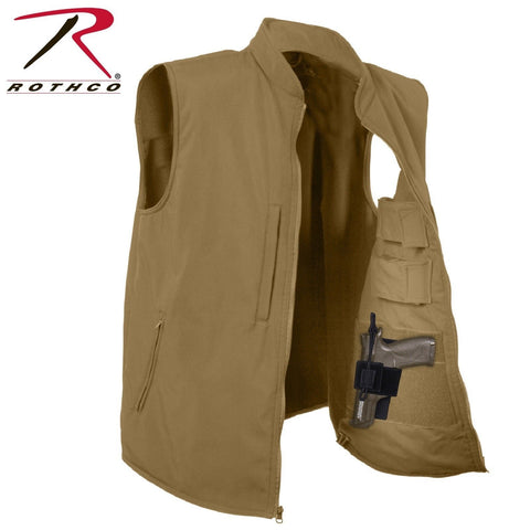 Rothco Concealed Carry Soft Shell Vest - Men's Coyote Brown CCW Tactical Vest