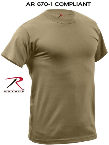 Mens Coyote Brown Quick Dry AR 670-1 Compliant Moisture Wicking Tee Shirt TShirt