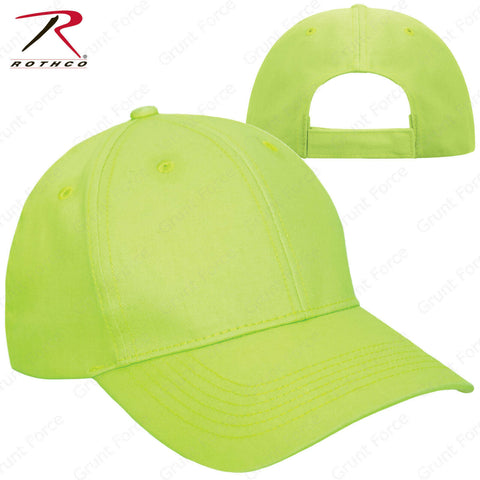 Safety Green Adjustable Baseball Hat - Rothco Solid Color Mid-Low Profile Cap