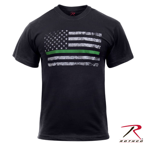 Men's Black Short Sleeve T-Shirt With Thin Green Line U.S Flag - Rothco 2693